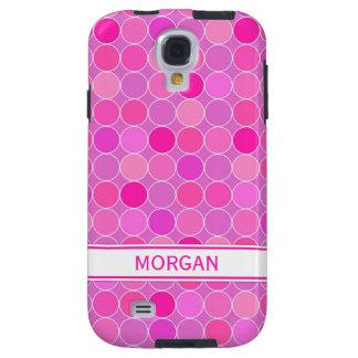 Samsung Custom Name Pink Circles Pattern Galaxy S4 Case