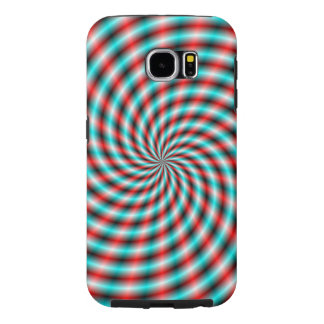 Samsung Galaxy S6  Turquoise and Red Spiral Rays Samsung Galaxy S6 Cases
