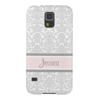 Samsung Pink Damask Custom Name Galaxy S5 Covers