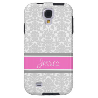 Samsung Pink Damask Custom Name Galaxy S4 Case