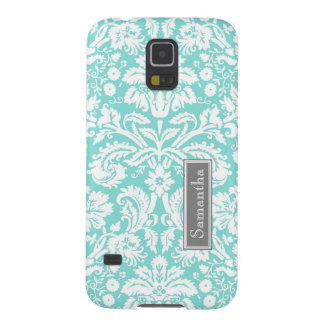 Samsung Teal Damask Custom Name Case For Galaxy S5