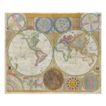 Samuel Dunn Wall Map of the World in Hemispheres Poster