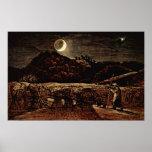 Samuel Palmer - cornfield in the moonlight Poster