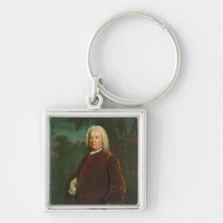 Samuel Richardson, 1747 Silver-Colored Square Key Ring