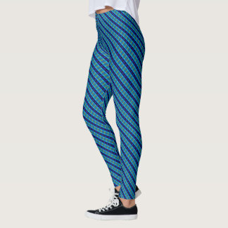 Samuels Blue Plaid Twisted Designer Leggings