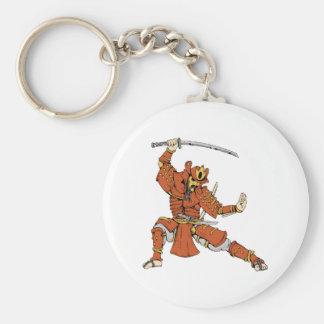 Samurai 4 ~ Ninjas Martial Arts Warrior Fantasy Basic Round Button Keychain
