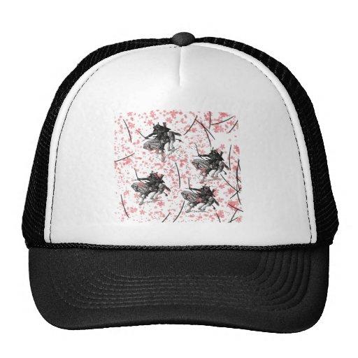 Samurai and cherry tree snowstorm trucker hat
