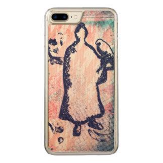 Samurai and Falcon Watercolor Sakura Pink Graffiti Carved iPhone 8 Plus/7 Plus Case