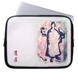 Samurai and Falcon Watercolor Sakura Pink Graffiti Laptop Sleeve