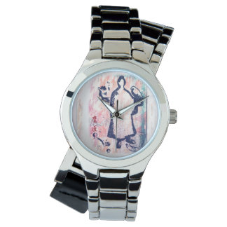 Samurai and Falcon Watercolor Sakura Pink Graffiti Watch