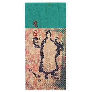 Samurai and Falcon Watercolor Sakura Pink Graffiti Wood USB 3.0 Flash Drive
