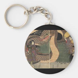 Samurai and giant serpent circa 1822 basic round button key ring