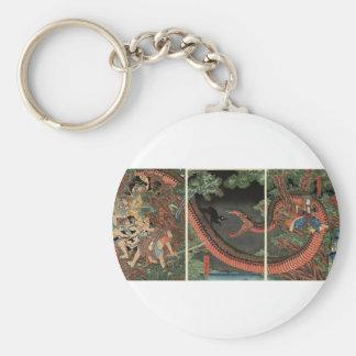 Samurai and giant serpent circa 1861 basic round button key ring