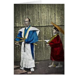 Samurai and Servant Greeting Card