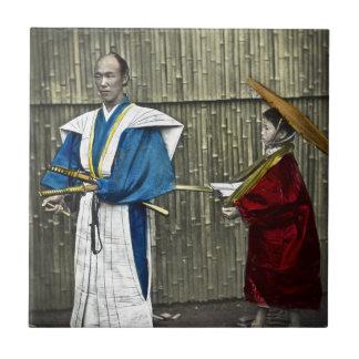 Samurai and Servant Small Square Tile