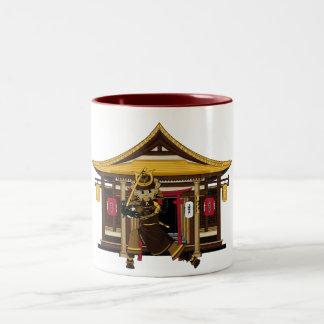 Samurai at Eastern Temple Mug