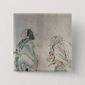 Samurai being followed by a servant 15 cm square badge