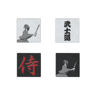 SAMURAI boy manga japan bushido kanji Stone Magnet