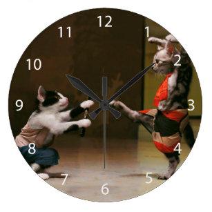 Samurai cats - cat ninja - crazy ninja large clock
