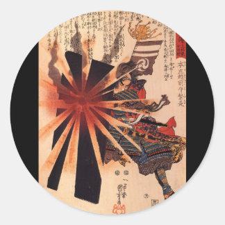 Samurai defending against exploding shell round sticker