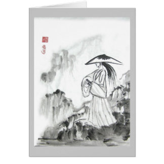 Samurai Drawing Sword Greeting Card