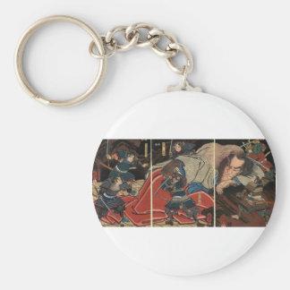 Samurai fighting a giant circa 1800's basic round button key ring