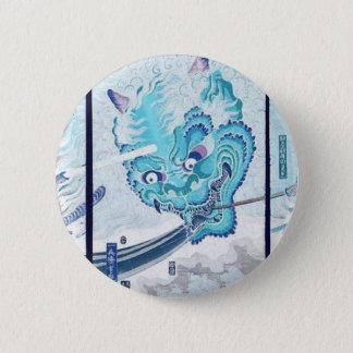 Samurai fighting evil spirit circa 1860 6 cm round badge