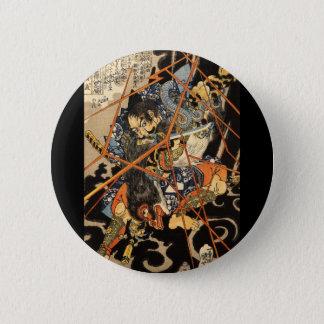 Samurai fighting large monster, circa 1800's 6 cm round badge