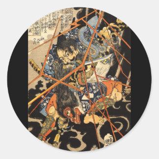 Samurai fighting large monster, circa 1800's classic round sticker