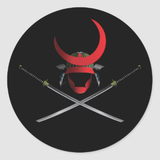 Samurai Helmet and Swords Classic Round Sticker
