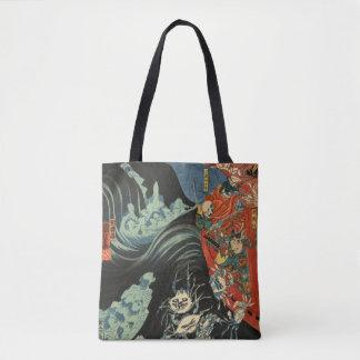 Samurai Hero Minamoto no Yoshitsune vs. Ghost Crab Tote Bag