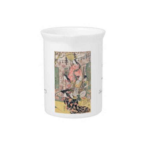 Samurai Hideyoshi and Wives Kitagawa Utamaro Drink Pitchers