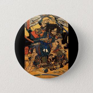 Samurai in Combat, circa 1800's 6 Cm Round Badge