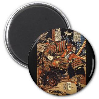 Samurai in Combat, circa 1800's 6 Cm Round Magnet