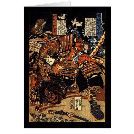 Samurai in Combat, circa 1800's Cards