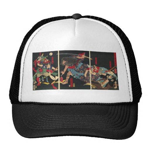 Samurai in Combat painting. circa 1860 Hats