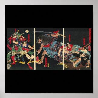 Samurai in Combat painting. circa 1860 Print