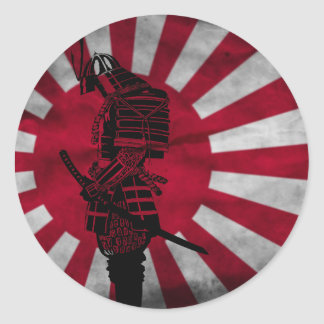 Samurai Japanese flag Classic Round Sticker