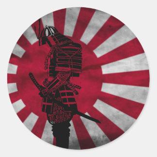 Samurai Japanese flag Round Sticker