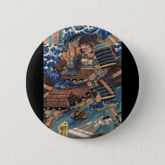 Samurai Japanese Painting c. 1800's 6 Cm Round Badge