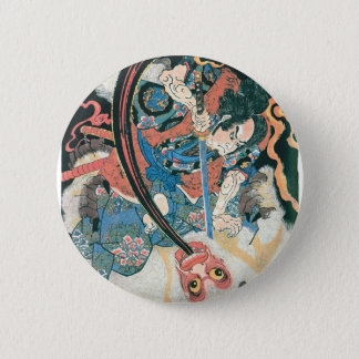 Samurai Killing a Demon, Ancient Japanese Painting 6 Cm Round Badge