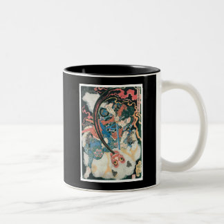 Samurai Killing a Demon, Ancient Japanese Painting Two-Tone Coffee Mug
