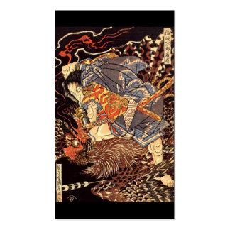 Samurai killing Tengu bird Painting c 1800 s Business Card