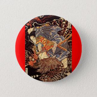 Samurai killing Tengu/bird Painting, c. 1800's 6 Cm Round Badge