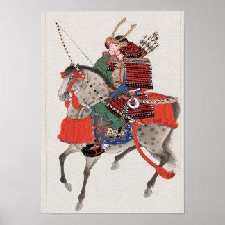 Samurai on horseback print