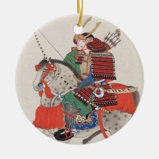 Samurai on Horseback Wearing Armor & Horned Helmet Christmas Ornament