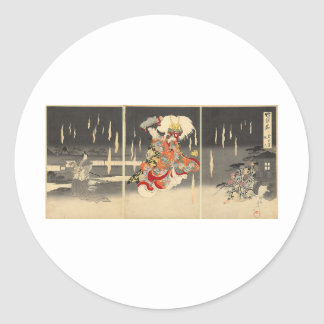 Samurai Painting circa 1898 Round Sticker
