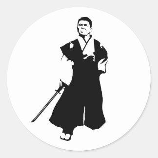 Samurai Reagan Round Sticker