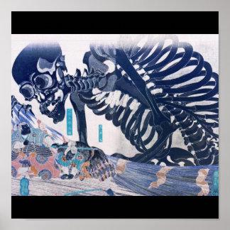 Samurai Skeleton Painting circa 1800 s Posters