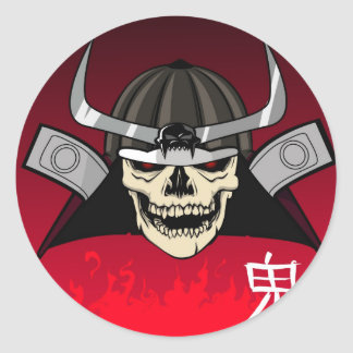 Samurai Skull Classic Round Sticker